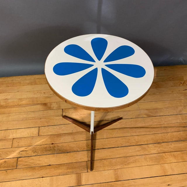 Howard McNab and Don Savage adjustable occasional table made with screenprinted laminate of a blue lotus image over...