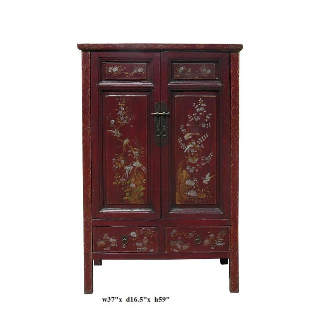 Vintage Chinese Armoire with Flower & Bird Accents For Sale In San Francisco - Image 6 of 6