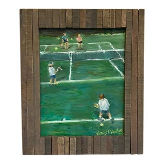 """The Tennis Game"" Original Oil Painting Framed Painting by Nancy T Van Ness For Sale"