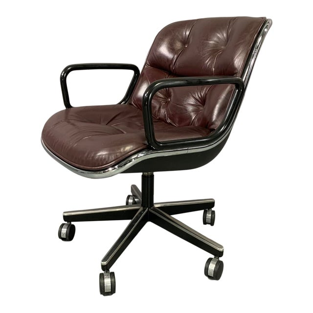 Cordovan Leather Executive Chair by Charles Pollock for Knoll International For Sale