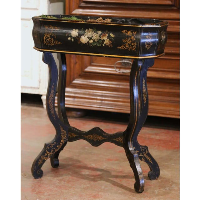 19th Century French Napoleon III Painted Plant Stand With Floral Motifs For Sale In Dallas - Image 6 of 11