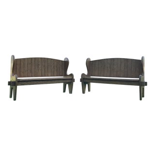 A Pair of Oak Wood Benches For Sale