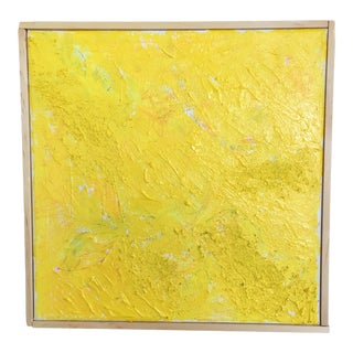 Abstract Yellow Mixed Media Painting For Sale