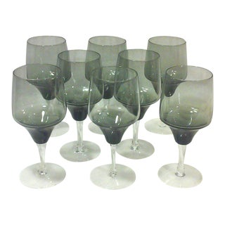 Smoked Crystal Wine Glasses - Set of 8