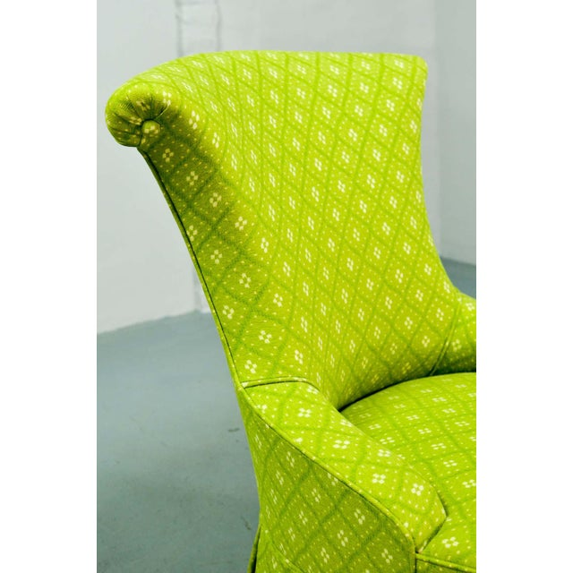 Fabric Fine pair of French Design Napoleon III Style Lime Green Boudoir / Slipper Chairs, 1900s For Sale - Image 7 of 12