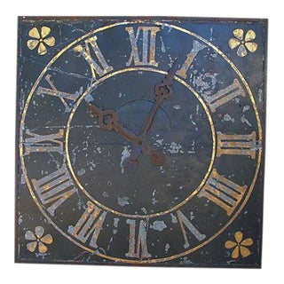 "X-Large Stunning Antique French Iron & Gilt Tower Clock Face 79"" Square"