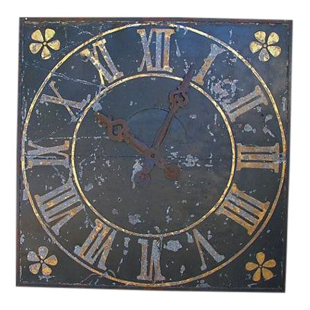 "X-Large Stunning Antique French Iron & Gilt Tower Clock Face 79"" Square For Sale"