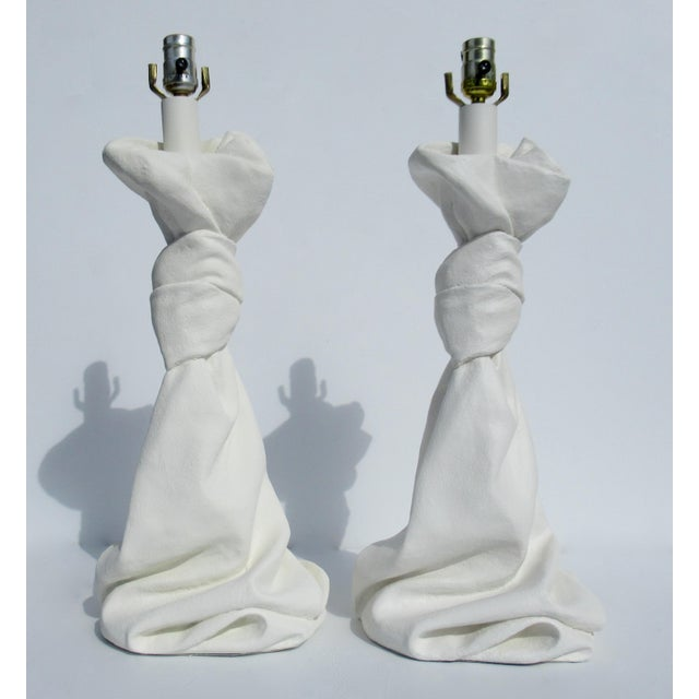 C.1970s Mid-Century Modern, John Dickinson Attr. Plaster Drape-Knotted Lamps -A Pair For Sale - Image 13 of 13