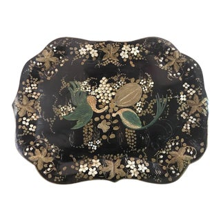 Circa 1900 Antique Painted Tole Tray For Sale
