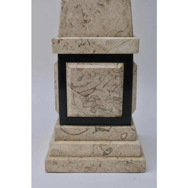 Tan & Black Marble Obelisk For Sale In West Palm - Image 6 of 11