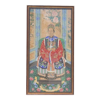 Late Qing Dynasty Portrait of an Empress Court Lady For Sale