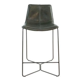 West Elm Brown Leather Bar Stool For Sale