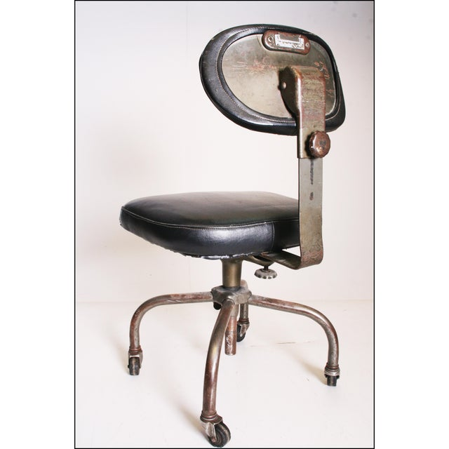Vintage Industrial Swivel Office Chair with Black Upholstery For Sale - Image 5 of 11