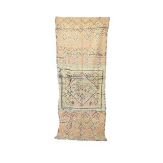 "Boujad Vintage Moroccan Wool Rug - 3'11"" X 11'2"" For Sale"