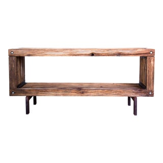 Vintage Brutalist Reclaimed Wood Widescreen Tv Media Entertainment Console