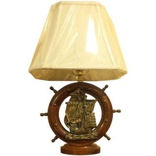 Oak & Brass Ship's Wheel Lamp For Sale