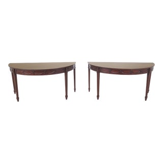 1900s Traditional Mahogany Demi-lune Console Tables - a Pair For Sale
