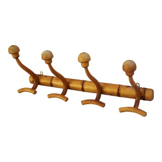 Antique French 4-Peg Carved Hat/Coat Rack