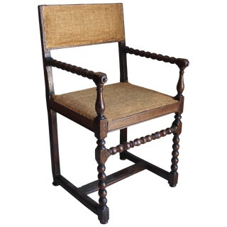 Flemish Turned Wood Armchair For Sale