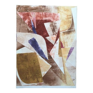 """Vintage 80s Monoprint Abstract Shapes """"Mid-Day"""" by Mariko Nutt For Sale"""