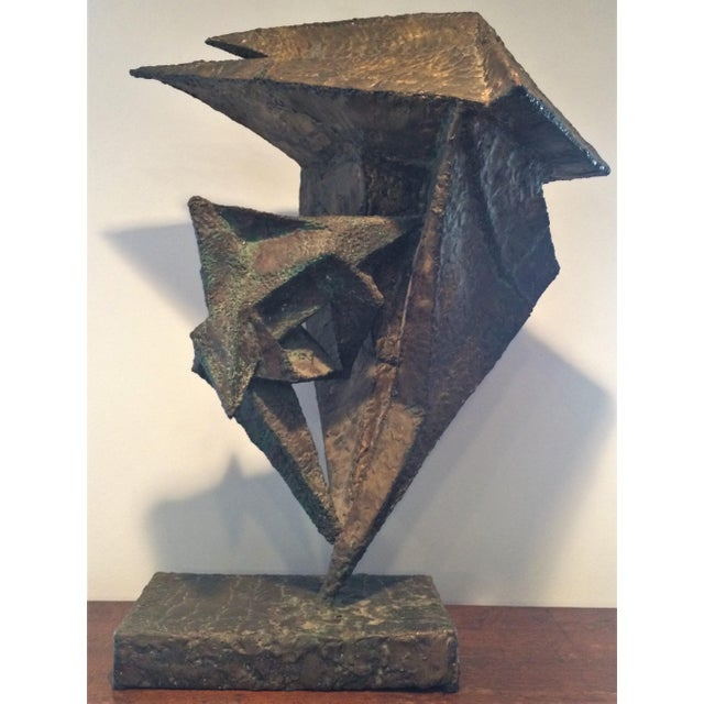 Green Geometric Copper and Steel Sculpture For Sale - Image 8 of 8
