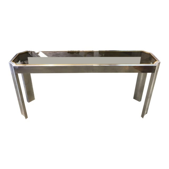 1970s Chrome Brass and Smoked Glass Baughman Style Console Table For Sale