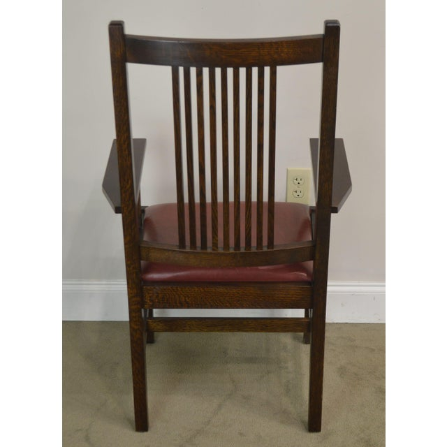 Stickley Mission Collection Oak Set 6 Spindle Dining Chairs For Sale In Philadelphia - Image 6 of 13