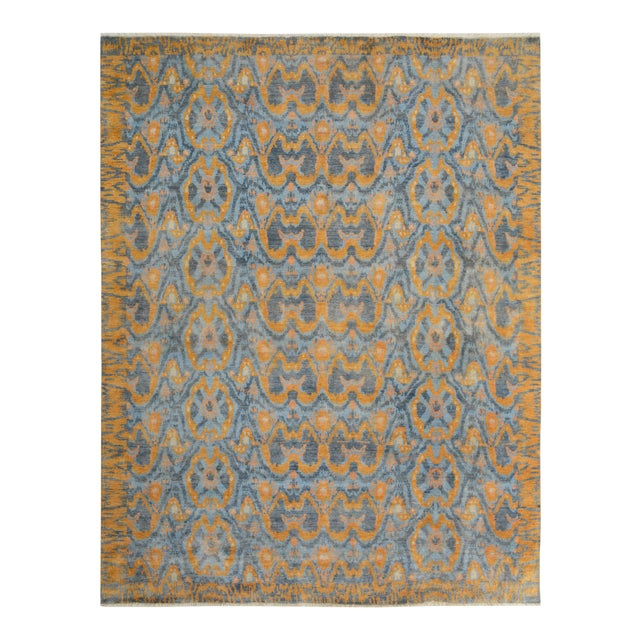 "Kafkaz Peshawar Rolando Light Blue/Gray Wool Rug - 7'6"" X 9'5"" For Sale"