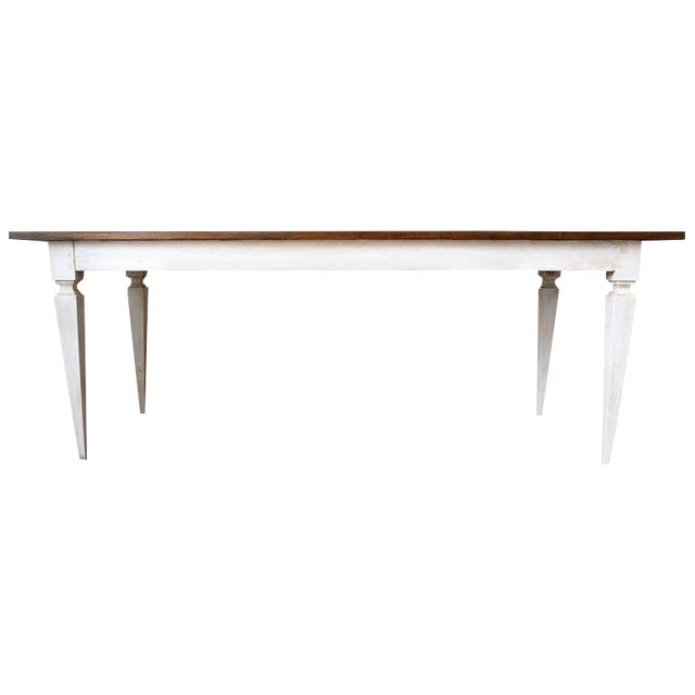 20th French painted dining farm table For Sale