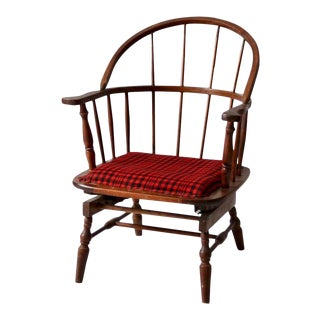 Antique Windsor Spring Seat Arm Chair With Plaid Upholstery For Sale