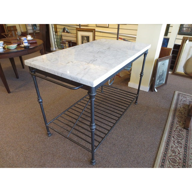 Marble Top Metal Base Kitchen Island - Image 5 of 9