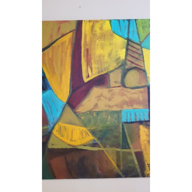 Mid-Century Modern Abstract Teal & Orange Painting For Sale In Chicago - Image 6 of 7