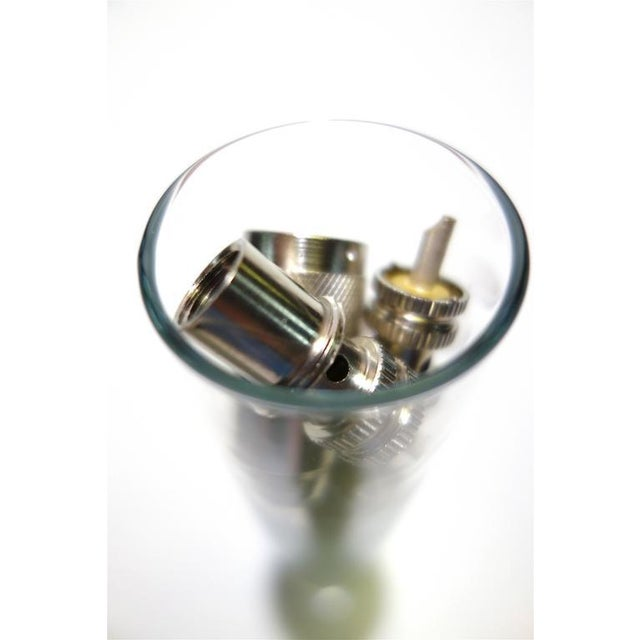 Vintage TV Electronic Connectors Circa Mid-Century In Glass Vase As Sculpture For Sale - Image 4 of 6