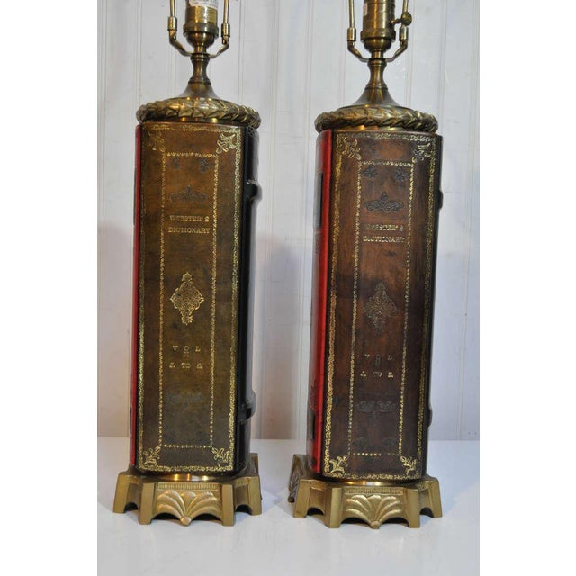 Vintage English Style Brass and Tooled Leather Bound Book Form Table Lamps - a Pair For Sale In Philadelphia - Image 6 of 11