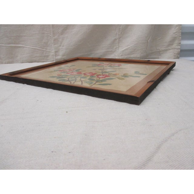 Late 20th Century Vintage Blue and Brown Bird Painting With Bamboo Style Wood Frame With Glass For Sale - Image 5 of 7