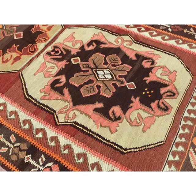 Green Vintage Turkish Kilim Rug For Sale - Image 8 of 11