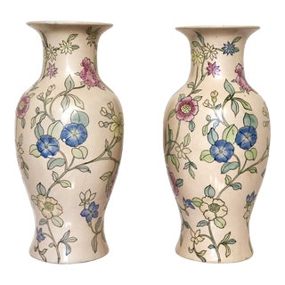 1980s Chinoiserie Porcelain Floral Vases - a Pair For Sale