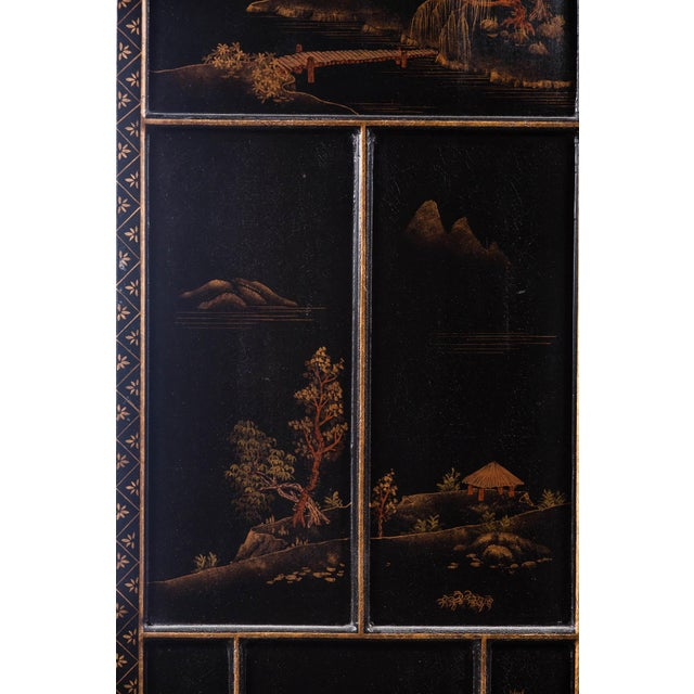 2000 - 2009 Japanese Large Four-Panel Landscape Scenes With Individual Raised Frames Screen/Room Divider 6 Ft W X 6.5 Ft H by Lawrence & Scott For Sale - Image 5 of 12