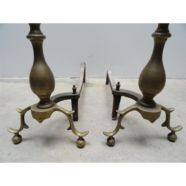 American Antique American Brass & Iron Andirons - A Pair For Sale - Image 3 of 7