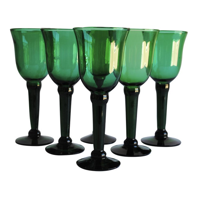 Vintage Emerald Green Wine Glasses - Set of 6 - Image 1 of 4