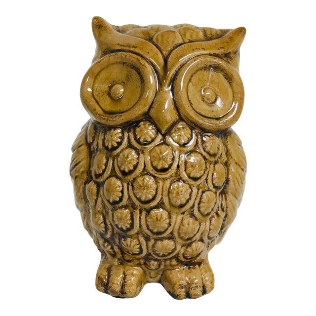 1970s Boho Chic Crackle Glaze Pottery Owl For Sale