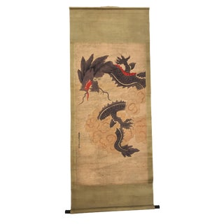 Chinese Dragon Brush Scroll Painting For Sale