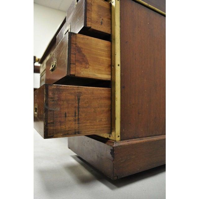 19th Century Campaign Mahogany Partner Desk For Sale In Philadelphia - Image 6 of 13