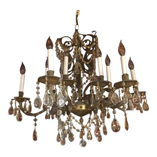 Rustic Farmhouse Crystal and Brass Antique Chandelier For Sale