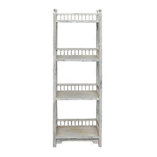 Chinese Distressed Off White Simple Slim Display Bookcase Cabinet For Sale