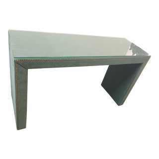 Green Wool Velvet Console Table For Sale