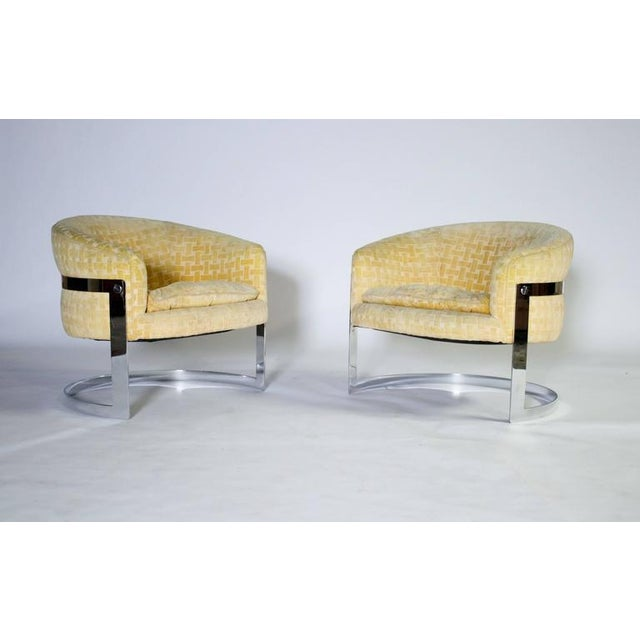 Metal Milo Baughman Mid-Century Modern Cantilevered Chrome Barrel Chairs For Sale - Image 7 of 7