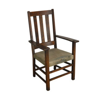 Limbert Antique Mission Oak Slat Back Armchair For Sale