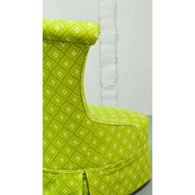 Fine pair of French Design Napoleon III Style Lime Green Boudoir / Slipper Chairs, 1900s For Sale - Image 10 of 12