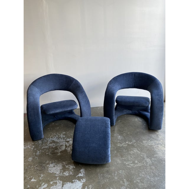 1980s Vintage Memphis Sculptural Cantilever Chairs and Ottoman For Sale - Image 12 of 13